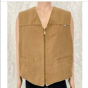Vintage 80's Carhartt Sherpa Sandstone Duck Vest